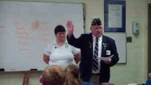 American Legion and Auxillary members visit classes.