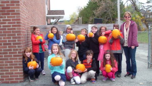 Students were given pumpkins from the McAllister Family Farm.