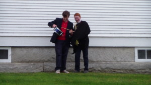 Connor and Jamison play for school-wide parade on All Saints' Day.