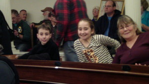 Matthew and Zoey in the House of Representatives room at the statehouse listening to pro-life speakers.