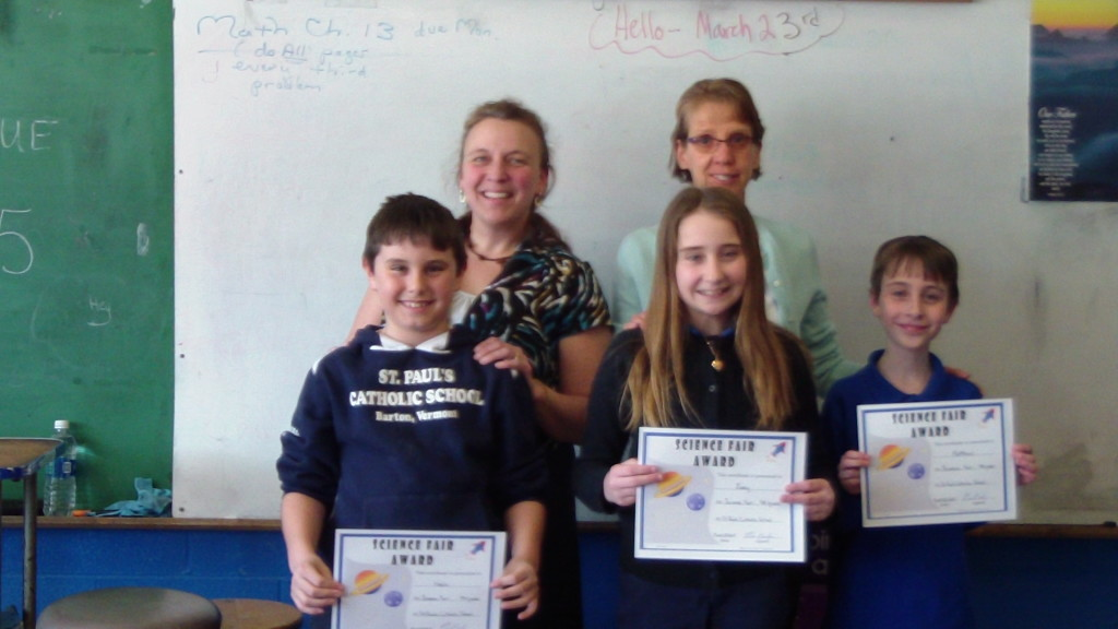 Winners for grade four are: Noah Zebrowski, Zoey Copp and Matthew Poginy with Principal Beloin and Mrs. Lemiere, Teacher.